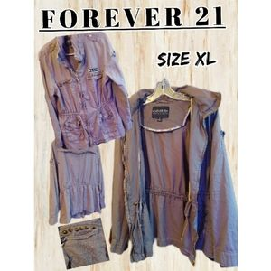 FOREVER 21 Plus Military Utility Style Anorak